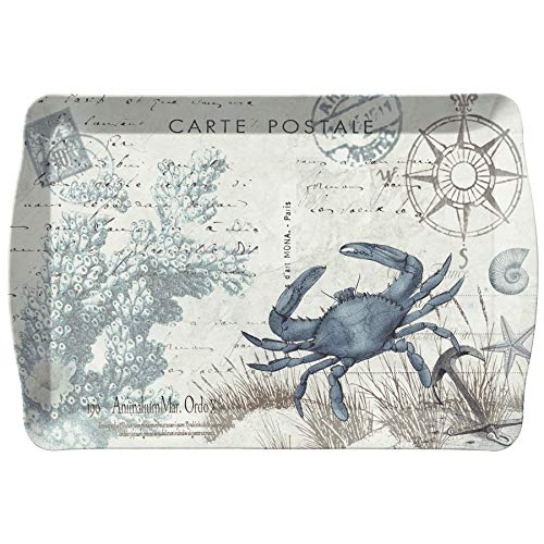 (Merritt Seaside Postcard Crab 17-inch Rectangular Melamine Tray, Blue/Multi)