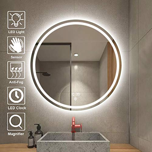Smart Bathroom Round Mirror 900×900mm Stepless Dimming LED Clock Temperature Display Touch -