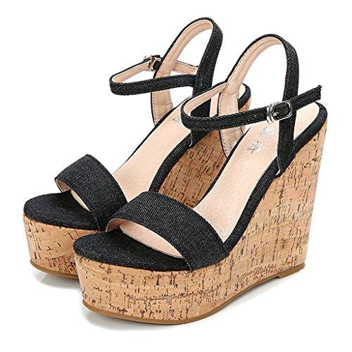 12cm Peep Wedge Toe Cowboy Black Shoes Heels Party High Platform Summer Womens Sandals Sexy ZpzqwO4qx