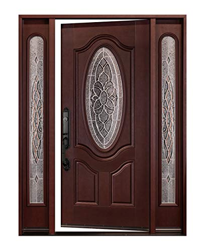 FM800D 12'X36X80' Right-Hand INSWING Dark Mahogany Stained Fiberglass Door Single Door with Two SIDELIGHTS