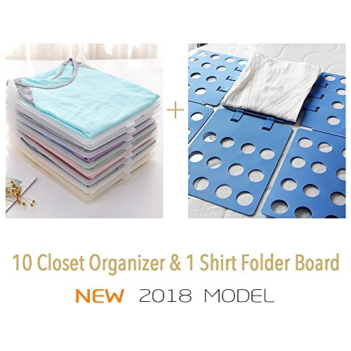 PROTECT YOUR CLOTHES Shirt Folder and Organizer for Closet, Space saver T-shirt Stacker Organizer, 10 Pieces of Organize Boards and 1 Folding Board Set