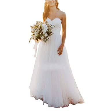 XPLE Sexy Tulle Beach Wedding Dresses Sweetheart Lace Simple Cheap Country Wedding  Bride Dress at Amazon Women s Clothing store  22e0eba864