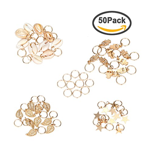 Amariver 50Pcs Gold Ring Shell Hands Leaves Stars Pendant Rings Set Hair Clip Headband Hair Accessories Headpiece for Women Girls, 4 Styles, Pack of (50 Style Makeup And Hair)