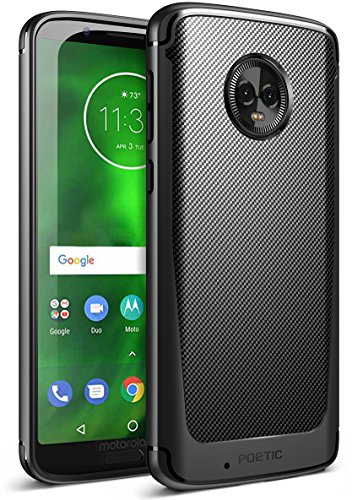 Moto G6 Case, Poetic Karbon Shield [Shock Absorbing] Slim Fit TPU Case with [Carbon Fiber Texture] for Motorola Moto G6 Black