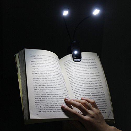 Rechargeable 8 LED Eye-Care Warm Book Light, Sturdy Clip On Bed Reading Light, USB Music Stand Lamp, Camping lamp.Desk lamp,5 Level Brightness, 2 Goosenecks Light . with AC Adapter and USB Cable by GES NET (Image #1)