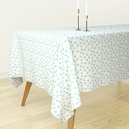 Roostery Tablecloth - Dot Mint Nordic Geometric Abstract Nursery Kids by Charlottewinter - Cotton Sateen Tablecloth 70 x 70