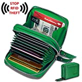 Women's Genuine Leather RFID Secure Spacious Cute Zipper Card Wallet Small Purse for Thanksgiving and Christmas Gift (Green)