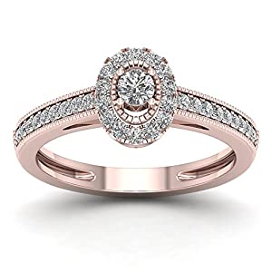 De Couer 10K Rose Gold 1/3ct TDW Diamond Halo Engagement Ring (H-I, I2)