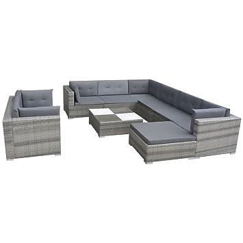vidaXL Gartensofa 32-tlg. Poly Rattan Grau Sitzgruppe Lounge ...