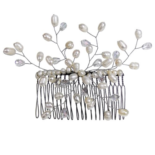 Floral Vine Cultured Freshwater White Pearls Bridal Hair Comb ()
