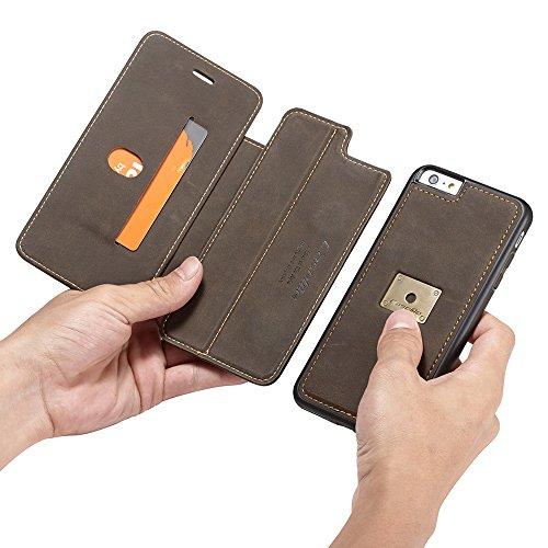 Handyhülle Handyschutz Flip Cover für iPhone 6 Plus / iPhone 6S Plus Hülle mit Ring Finger Halterung magnetisch abnehmbar, Stand-Design Handysocks Handytasche Schutzhülle Brieftasche