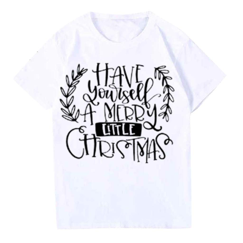 QIUUE Christmas Women's O-Neck Tops T-Shirt Short Sleeve Casual Cute Holiday Sweatshirt Xmas Letter Pullovers White by QIUUE