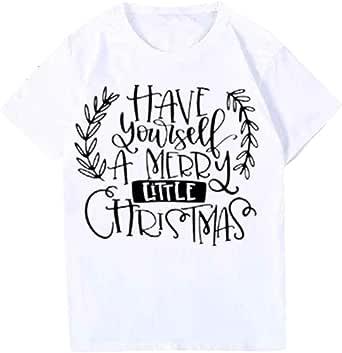 K-Youth Camiseta Mujer Navidad 2019 Oferta Camisetas de Manga Corta Mujer Talla Grande S-3XL Estampado Blusas de Fiesta de Mujer Blusa Pullover Tops Ropa para Mujeres Camisas Shirt: Amazon.es: Ropa y accesorios