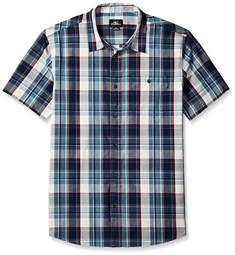 - O'Neill Men's Casual Standard Fit Short Sleeve Woven Button Down Shirt, Dust Blue/Kensington, L