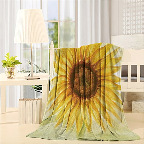 - Flannel Fleece Throw Blankets for Bed/Couch Soft Warm Fuzzy Plush Microfiber All-Season Lightweight Sofa Chair Throws (40x50inch) Sunflower Oil Painting Art Design