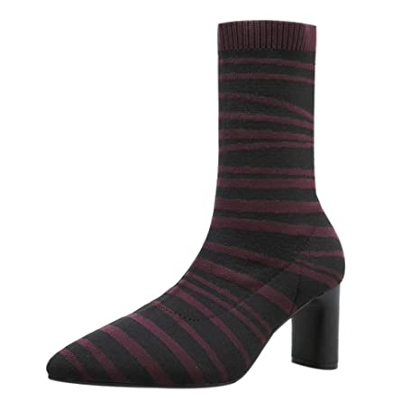 eec3cadfa0975 Amazon.com - Sonmer Women Zebra Pattern High Heel Elasticity Heel ...