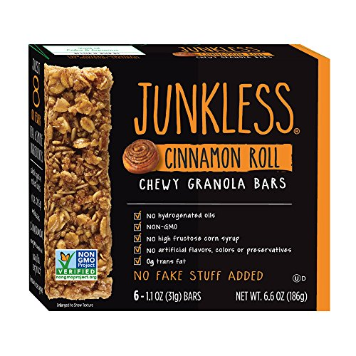Junkless Chewy Granola Bars, Cinnamon Roll, 1.1 oz., 6 Bars