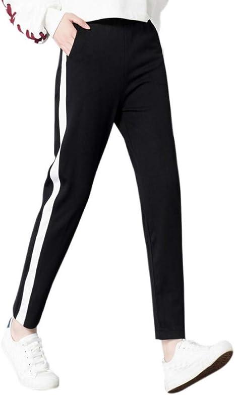CKBYTH Pantalones Rayado Lado Negro Slim Fit Pantalones Mujeres ...
