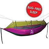 Mosquito Net Outdoor Hammock, Alpine grand, Lightweight Parachute Fabric Double Hammock For Indoor, Camping, Hiking, Backpacking, Backyard (PURPLE/GREEN)