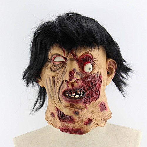 Xigeapg Horror Darkness Zombie Mummy Fire Face Smelly Halloween Room Escape Haunted House Prop Scary Latex Zombie Ghost Mask B]()