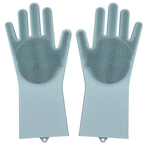 Magic SakSak Silicone Dishwashing Gloves,Reusable Silicone Kitchen Cleaning Gloves with Brush Sponge Wash Scrubber Heat Resistant for Dishwasher Dish Washing,Car Cleaning,Household (Light Blue)