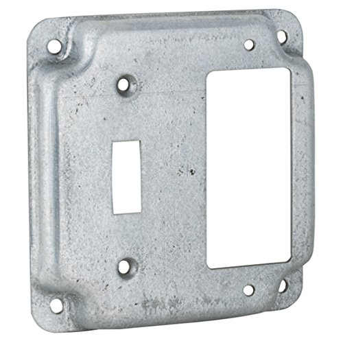 Hubbell-Raco 814C 1 Toggle and 1 GFCI 4-Inch Square Exposed Work -