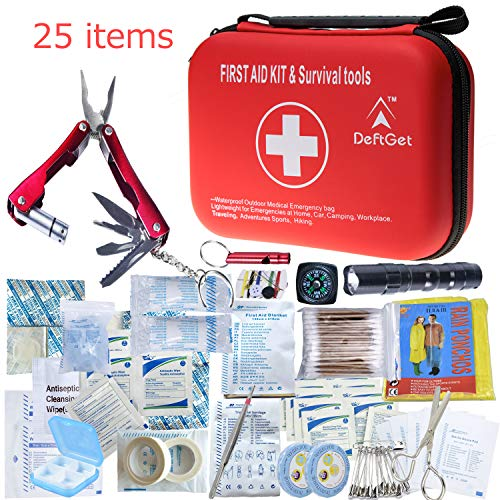 DeftGet Compact First Aid Kit - Mini Survival Tools Box - Waterproof Outdoor Medical Emergency Bag Lightweight for Emergencies at Home Car Camping Workplace Traveling Adventures Sports Hiking (Swiss Safe 2 In 1 First Aid Kit)