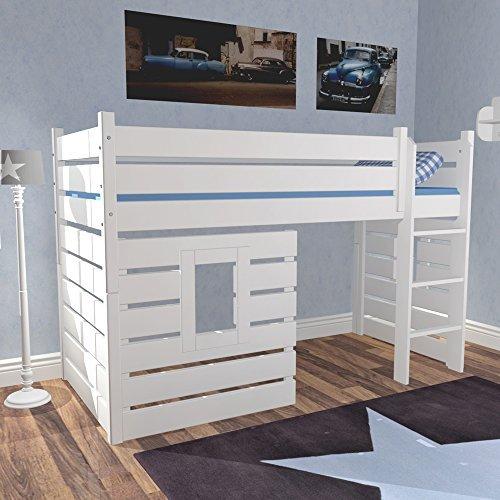 lounge-zone Hochbett Hüttenbett BEACH, Weiß, umbaubar zum Basisbett/Tagesbett, 3 Panele (2 mit Fenster) für das echte Höhlenerlebnis 10961