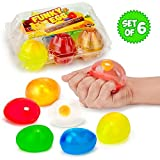 Funky Egg Colorful Splat 'N' Stick Ball Squishy Toys | 6 Pack | Stress Relief Yolk Balls Squishies - Fun Toy For Easter | Anxiety Reducer Sensory Play | Tension Relief For Kids | For Autism & ADHD
