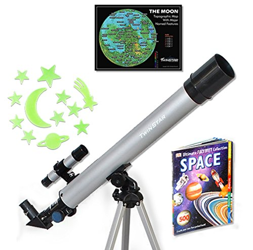TwinStar 50mm Refractor Telescope 75x Magnification Kids Pak Bundle (Silver)