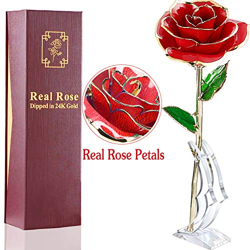 AMENON 24K Gold Dipped Rose Real Rose for Her Everlasting Rose for Mom, Forever Flower Gifts for Wife, Women Girls Wedding and Proposal Birthday Presents(with Moon Stand, Gift Box)