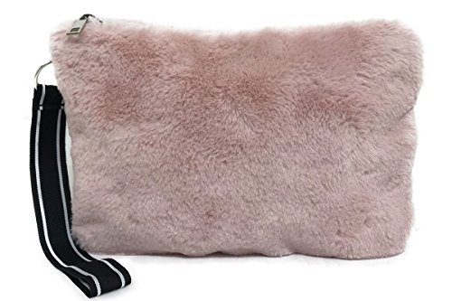 Purse Fluffy Chain Chain Gold Pink Fur Without Women Lady's Zip Hotstylezone Shoulder Bag Faux Uk Bag XPqac4