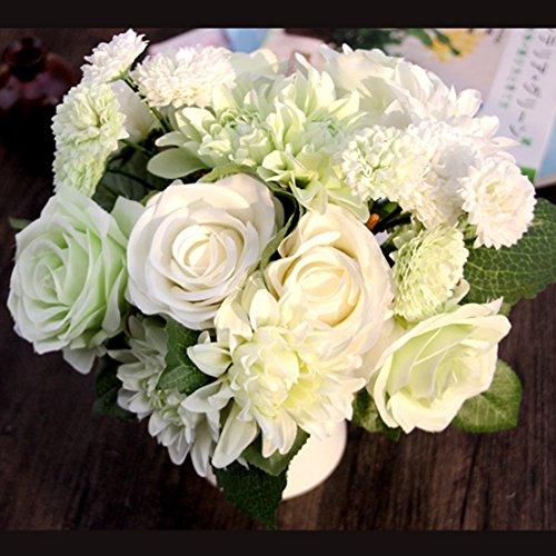 LeLehome Bridal Bouquet Flower Arrangement Home Decorative Real Touch Silk Artificial Flowers- Rose,for Daisy,Dahlia,Wedding Decoration,Hotel Party Garden-White Green