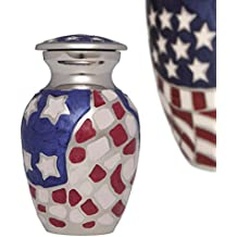 Mini Keepsake Urn • Miniature Funeral Cremation Urn fits Small Amount of Ashes • American Hero Model • 3 inches Tall