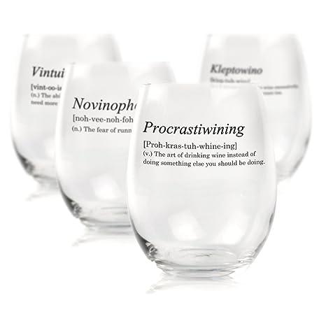 Divertido vino cristal diccionario Set