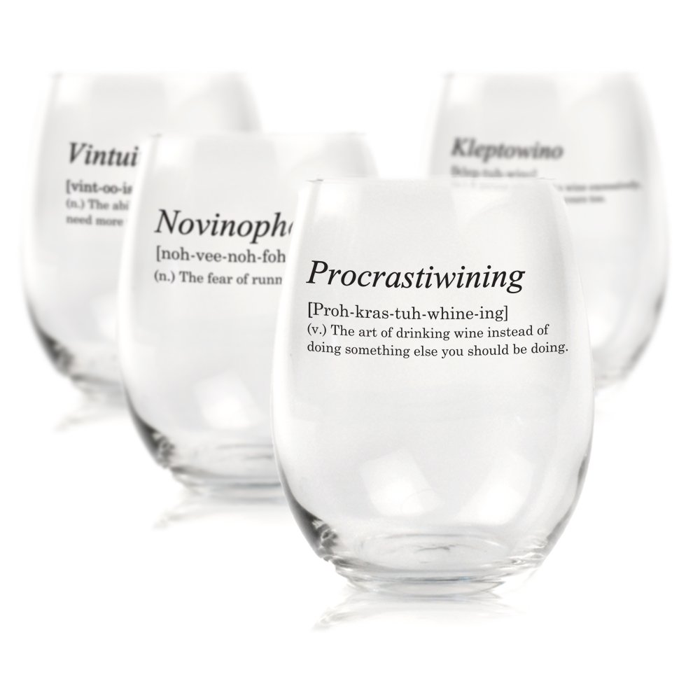 Funny Stemless Wine Glass Dictionary Definitions - Set of 4