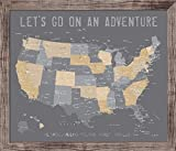 Push Pin Map of America, 20X24 Inches, America Trips, Rustic looking map, Travel Map, Personalized