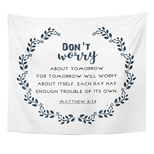 (TOMPOP Tapestry Psalm Bible Quote in Wreath Text Verse Scripture Biblical Home Decor Wall Hanging for Living Room Bedroom Dorm 50x60 Inches)