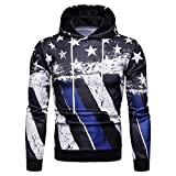 Forthery Clearance Men's Pullover Sweatshirt 3D Print Fleece Hooded Coat for Men(Blue, US Size 2XL = Tag 3XL)