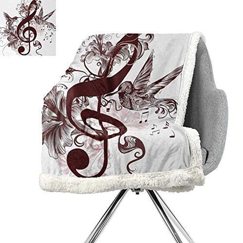 ScottDecor Music Flannel Bed Blankets,Cute Floral Design with Treble Clef and Singing Flying Birds Sparrows Art,Chesnut Brown White,Warm All Season Blanket for W59xL31.5 Inch