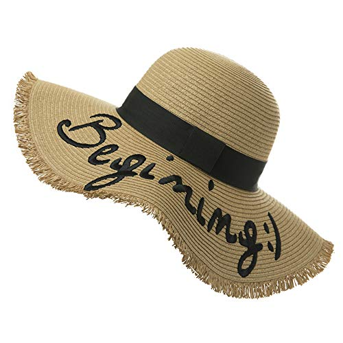 Jeff & Aimy Ladies Floppy Straw Beach Sun Hat with Bow SPF Embroidered Wide Brim Sunhat Rull Up Panama Hat Travel Accessories Foldable Adjustable Khaki Natural