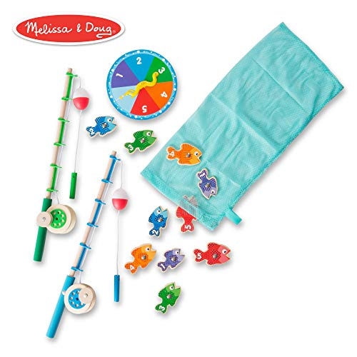 Melissa & Doug Catch & Count Wooden Fishing Game (Developmental Toy, 2 Magnetic Rods)]()