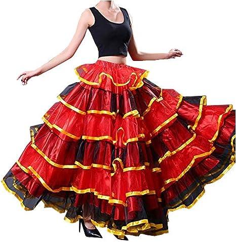 double ruffles Flamenco skirt silky knit sunset color