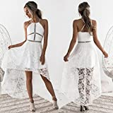 Auwer Womens Sleeveless Formal Prom Party Bridesmaid Wedding Ball Gown Harness Lace Cocktail Dress (S, White)