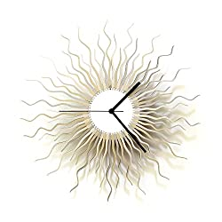 Medusa silver L - Large sized contemporary wooden wall clock in shades of silver, a piece of wall art by ardeola