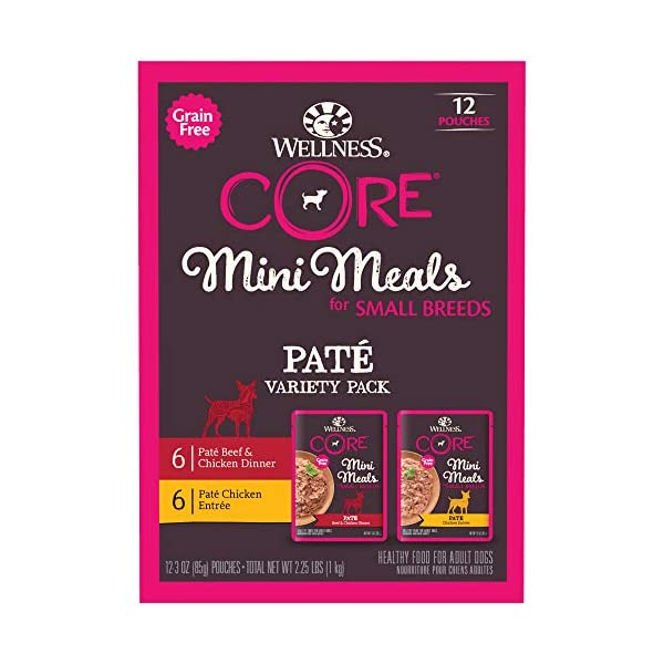 Wellness Core Natural Grain Free Small Breed Mini Meals Pate Variety Pack, 3 oz (Pack of 12)
