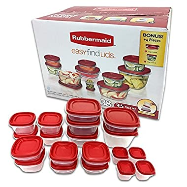 Rubbermaid Easy Find Lids Food Storage Container, 38-Piece Set, Red