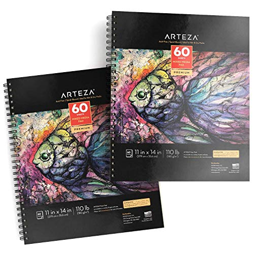 ARTEZA 11x14 Mixed Media Sketch Book, 2 Pack, 110lb/180gsm, 120 Sheets (Acid-Free, Micro-Perforated), Spiral-Bound Pad, Ideal for Wet and Dry Media, Sketching, Drawing, and Painting
