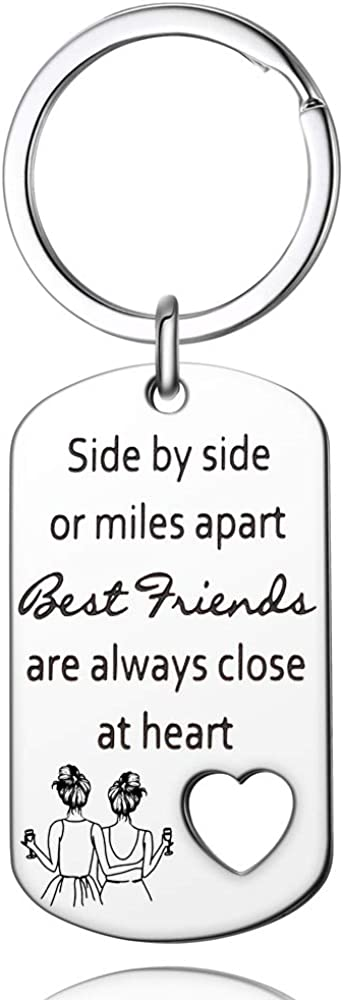 Side By Side or Miles Apart Friends Keychain ,Best Friend Birthday Gifts for Women - Long Distance Friendship Gifts for Soul Sisters, BFF, Besties Girlfriend Coworker