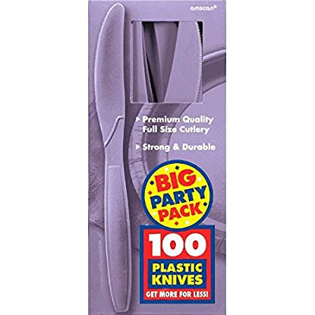 Amscan Big Party Pack 100 Count Mid Weight Plastic Knives, Black 43603.1